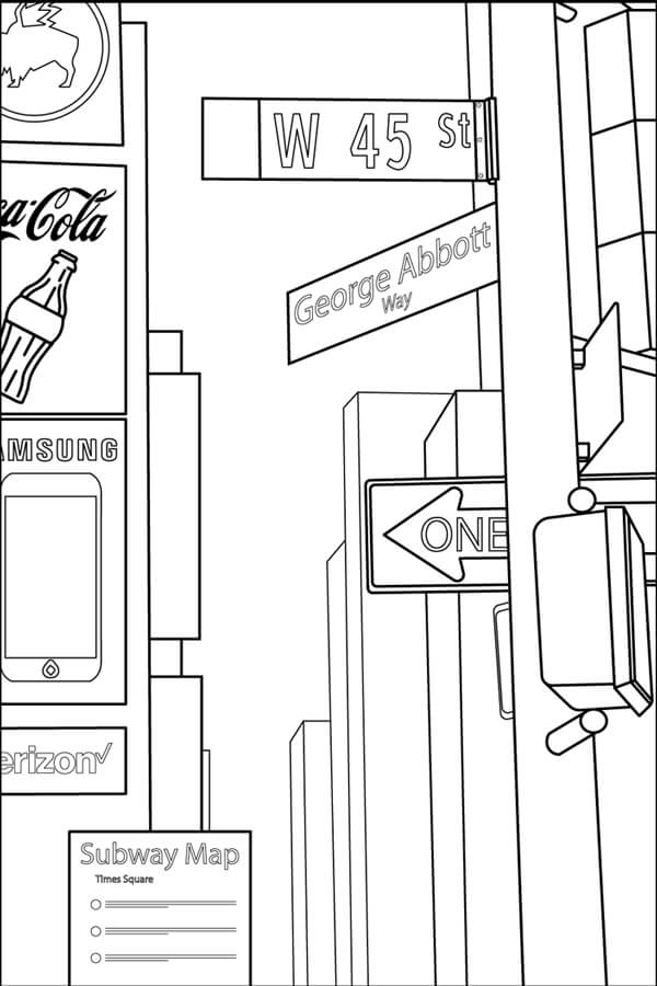 Coloring page showing the street sign for the part of 45th Street called George Abbott Way