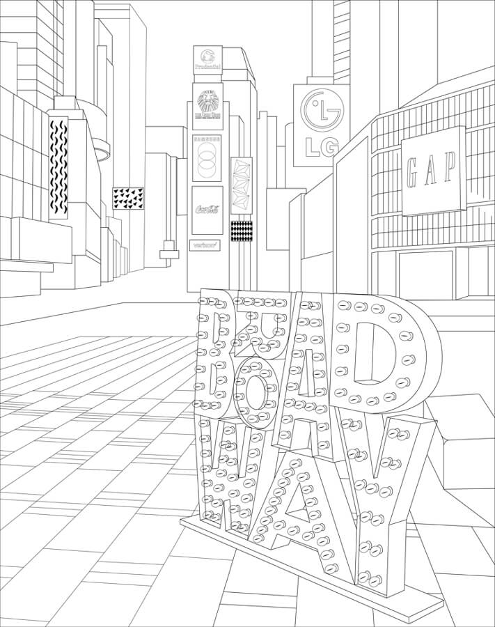 Coloring page showing the Broadway plazas and Broadway Up Close's illuminated Broadway sign
