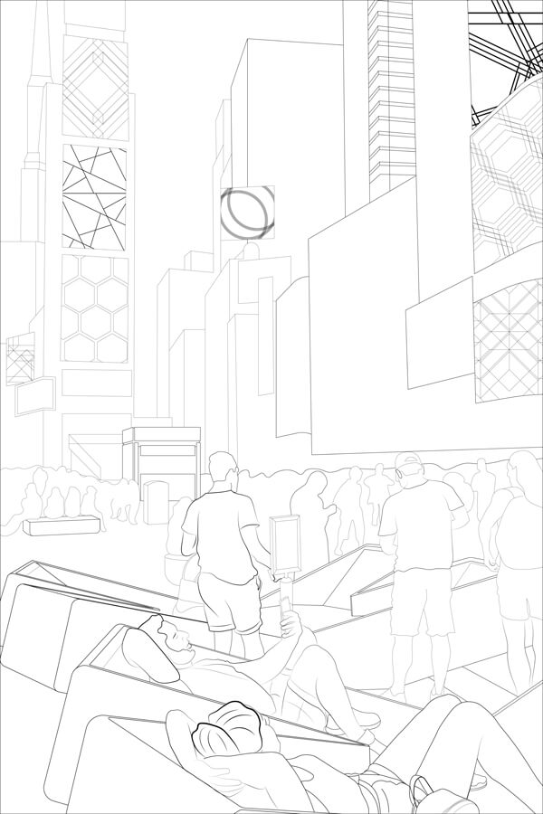 Coloring page featuring people relaxing in the XXX loungers on the plazas