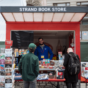 The Strand Book Store kiosk in Times Square