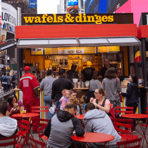 The Wafels & Dinges kiosk in Times Square