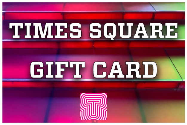 "The words ""Times Square Gift Card"" set against a close-up of the Red Steps"