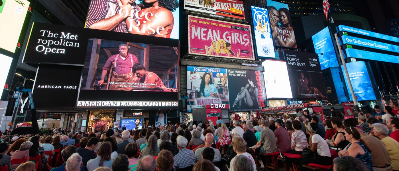 Photo from the 2019 screening of the Met Opera's Porgy and Bess in Times Square