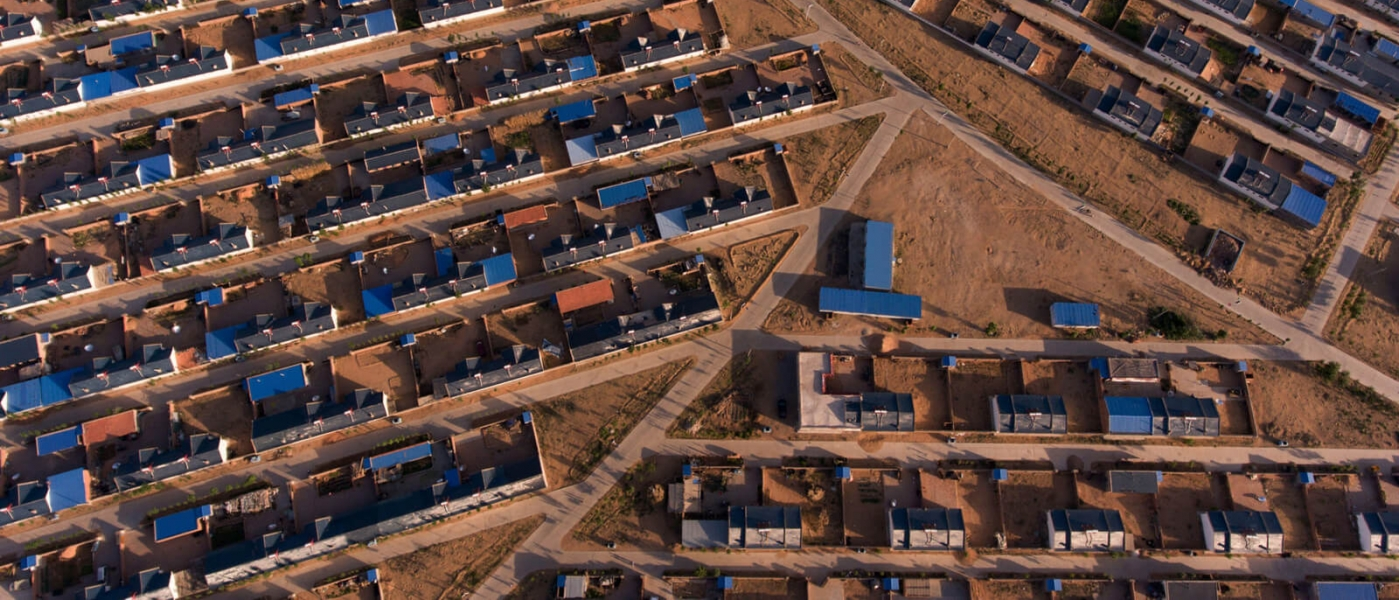 Aerial photo of houses in an arid development
