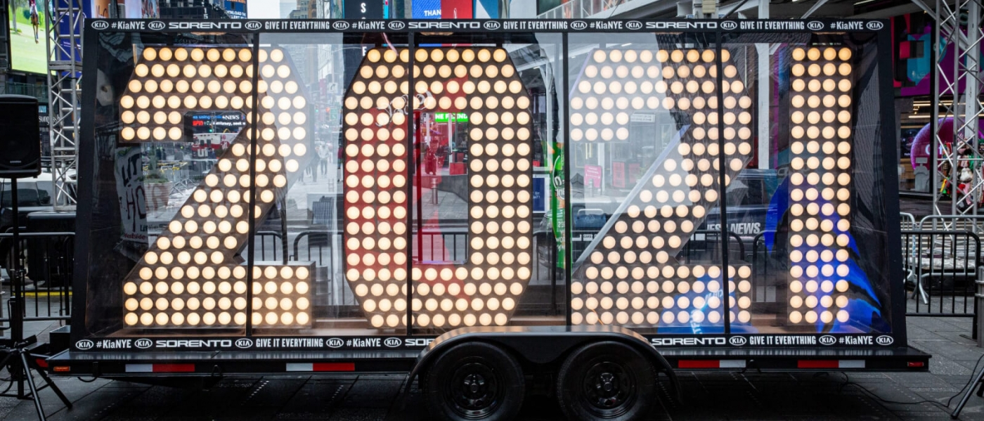 The 2021 numerals in Times Square