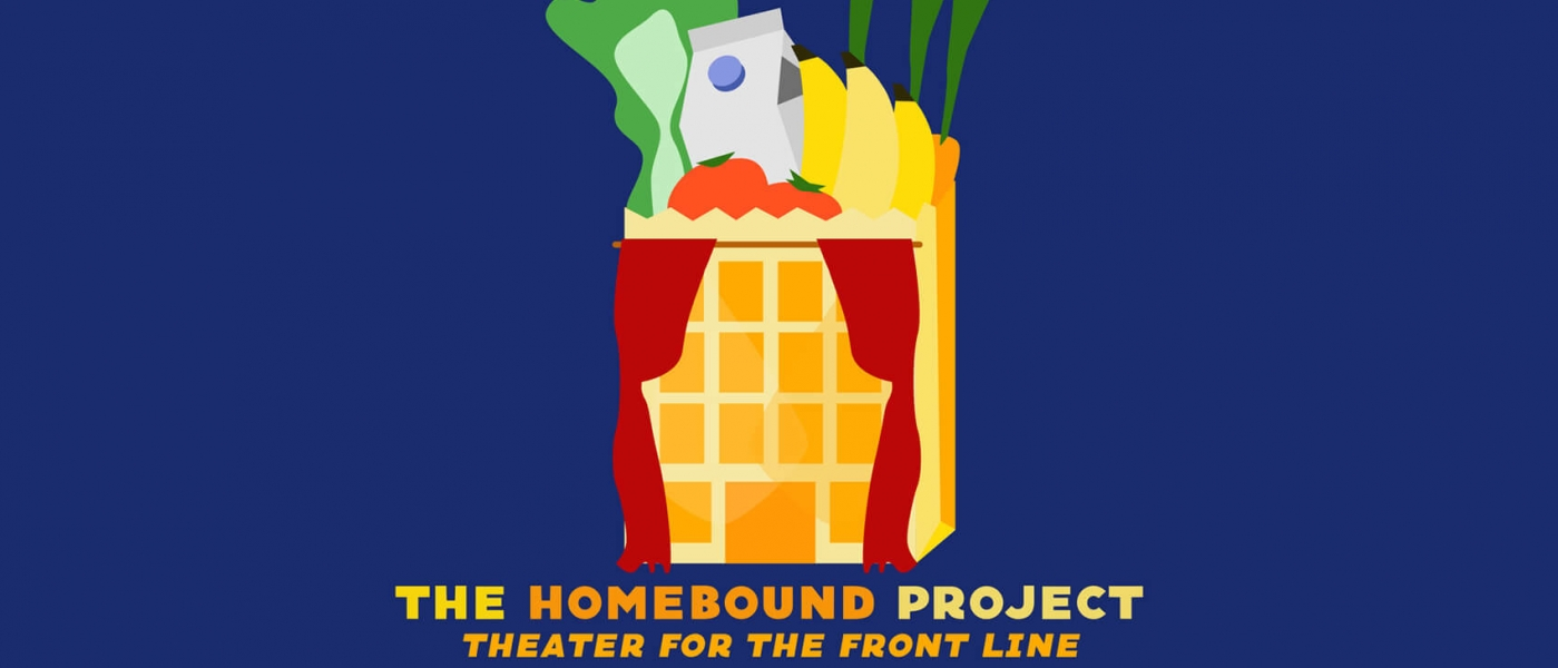 The Homebound Project logo: illustration of a grocery bag that looks like a theater at the front