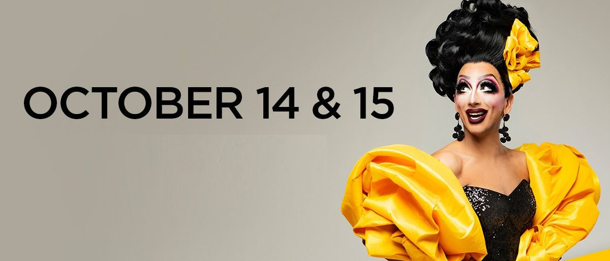 """Bianca Del Riio in a black dress and yellow coat with text reading """"Bianca Del Rio, October 14 & 15, Unsanitized"""""""