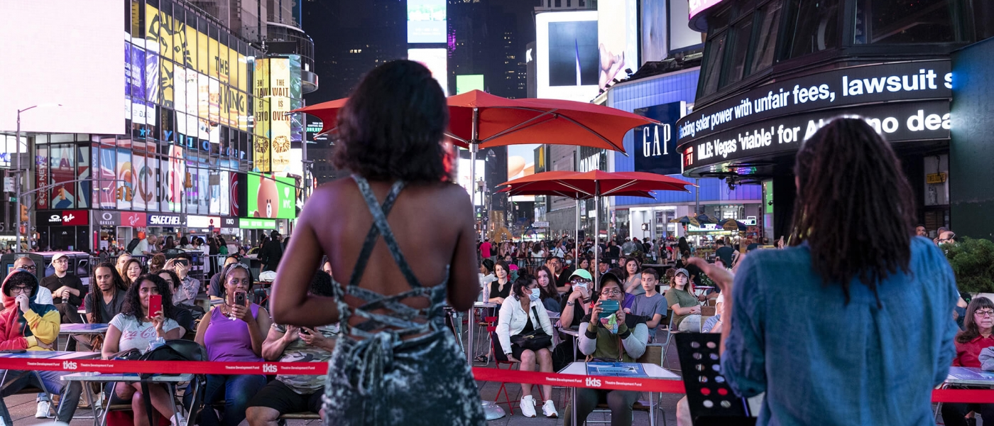 One of three performances presented by Up Until Now Collective in Times Square