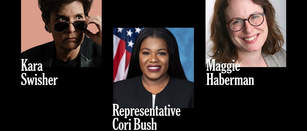 Photos of Kara Swisher, Rep. Cori Bush, and Maggie Haberman