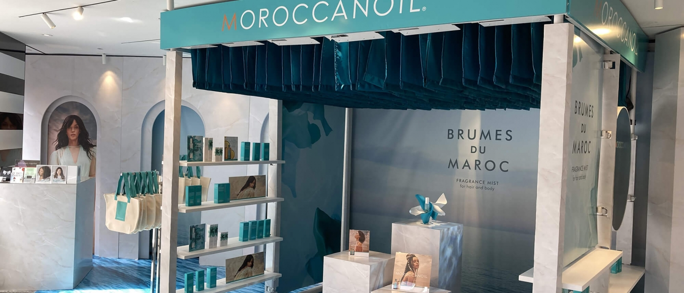 The Moroccanoil stand inside the lobby of Sephora Times Square