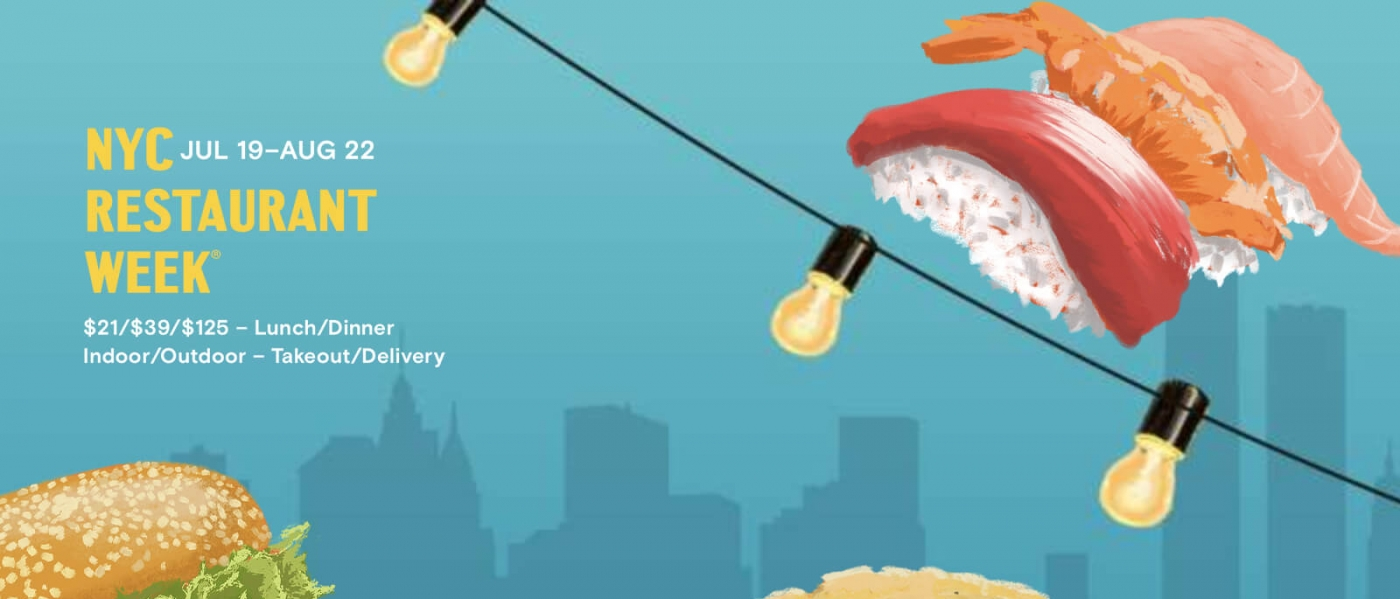 """Illustrations of sushi, a burger, and a taco atop a blue skyline with the words """"NYC Restaurant Week, Jul 19 - Aug 22, $21/$39/$125, lunch/dinner, indoor/outdoor - takeout/delivery"""""""