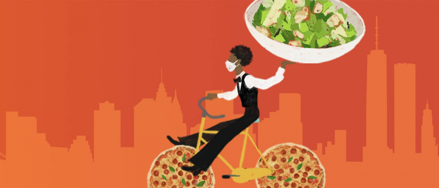An illustrated masked waiter in a bowtie carries a massive salad while riding a bike with pizza wheels against an orange silhouetted skyline of NYC on a red background