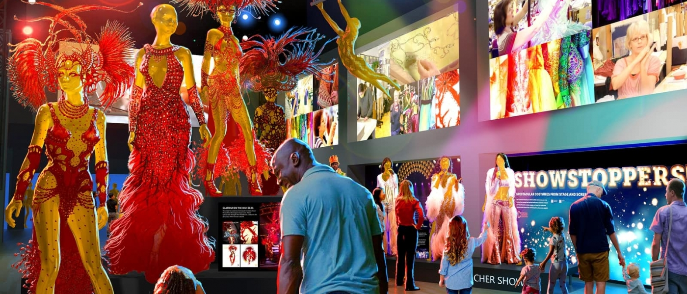 Rendering of a lobby filled with colorful costumes and mannequins