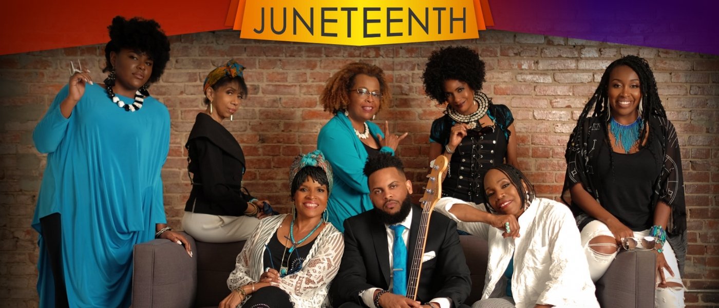 The members of Sweet Honey in the Rock posed on or around a couch wearing white, black, and blue outfits. Text framing the photo reads: Juneteenth. Breath... and never turn back. Sweet Honey in the Rock.