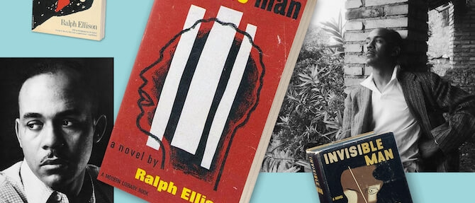 Photos of Ralph Ellison collaged with different covers of his novel Invisible Man