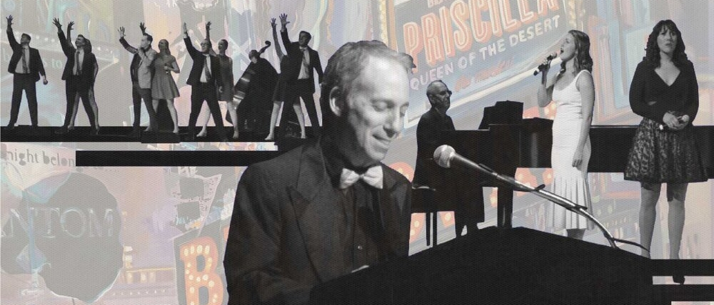 Scott Siegel sitting at a piano, collaged with other photos of performers singing and a painted background of playbills and marquees