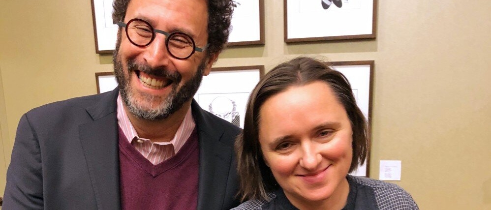 Tony Kushner and Sarah Vowell standing together