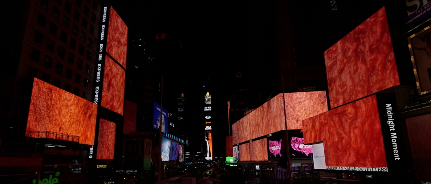 Flesh Wall by Sondra Perry on the screens of Times Square