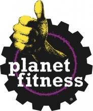 Planet Fitness logo: a yellow hand making a thumbs up in front of a purple gear