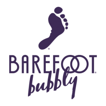 Barefoot Bubbly logo: a print of a bare foot above the words Barefoot bubbly