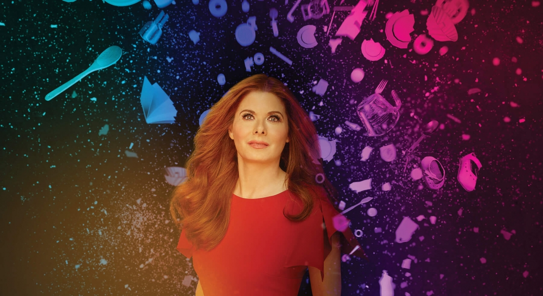 """Debra Messing stands with a colorful background behind text reading """"Birthday Candles"""""""