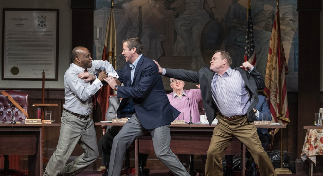 K. Todd Freeman, Armie Hammer, and Danny McCarthy in Steppenwolf's Production of THE MINUTES