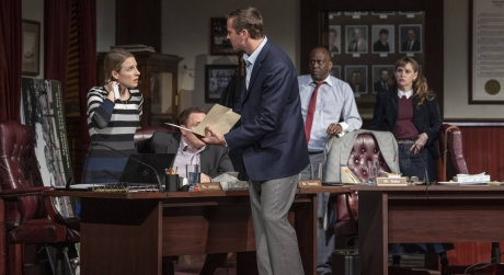 Jessie Mueller, Armie Hammer, K. Todd Freeman, and Sally Murphy in Steppenwolf's Production of THE MINUTES